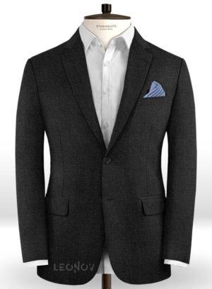 Пиджак темно-угольный из камвольной шерсти – Scabal