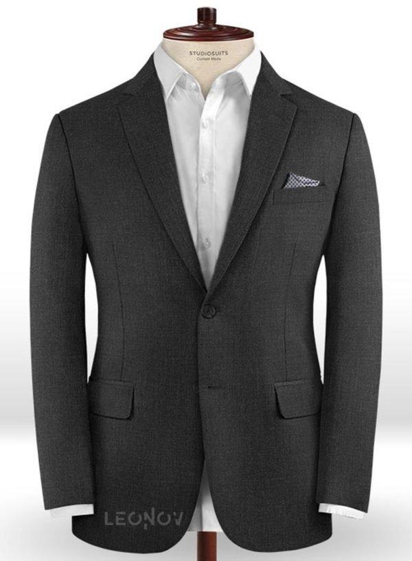 Угольно-серый пиджак из камвольной шерсти