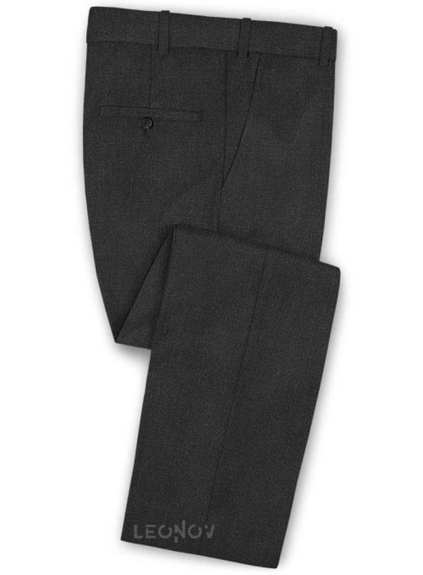 Угольно-серые брюки из камвольной шерсти