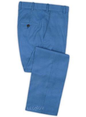 Ярко-синие брюки из шерсти