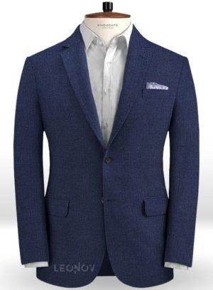 Летний пиджак из льна джинсовый темно-синий – Solbiati
