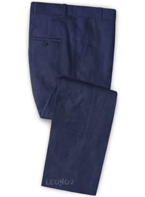 Летние брюки из льна джинсовые темно-синий – Solbiati