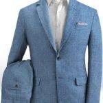 Летний светло-синий костюм из льна