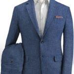 Летний костюм из льна джинсовый средний синий