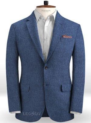 Летний пиджак из льна джинсовый средний синий – Solbiati