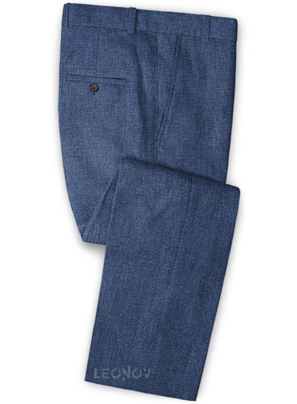 Летние брюки из льна джинсовые средние синие – Solbiati