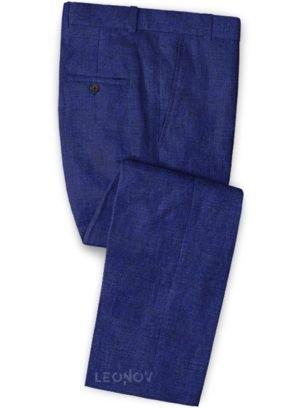 Брюки цвета индиго из льна – Solbiati