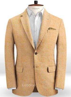 Летний пиджак дынного цвета из льна