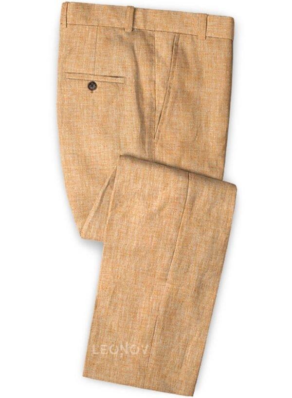 Летние брюки дынного цвета из льна