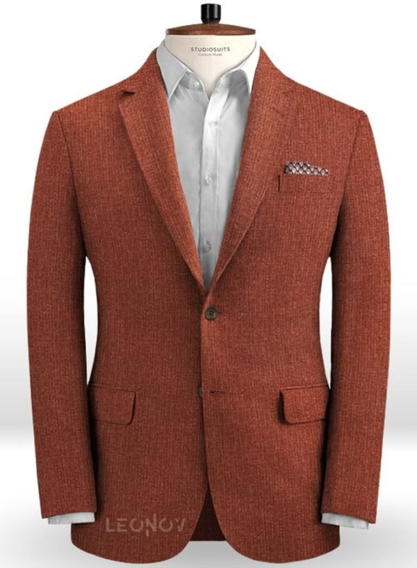 Летний пиджак костюм темно-бордовый из льна – Solbiati