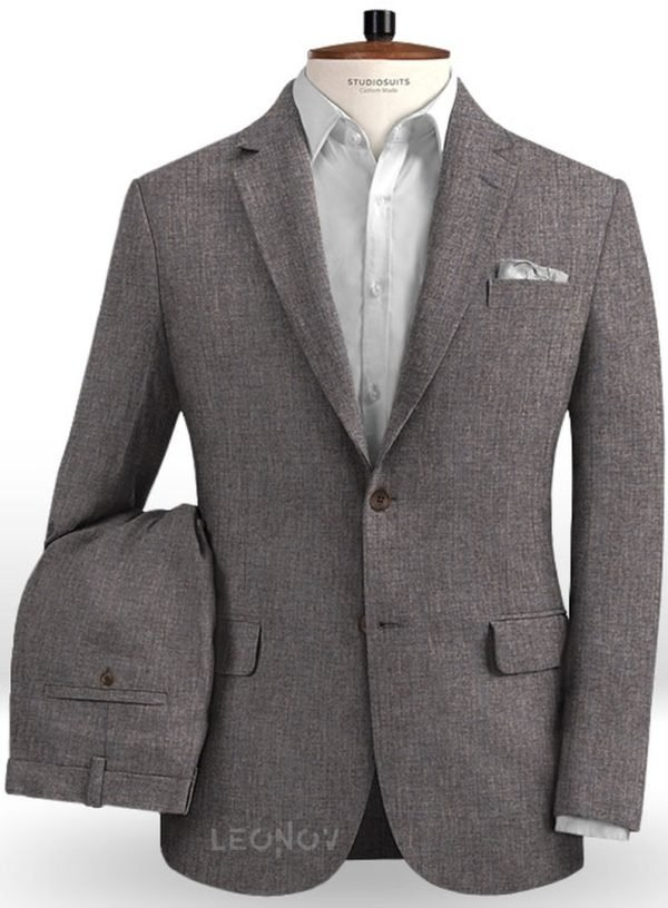 Серый летний костюм из льна