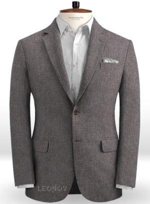 Серый летний пиджак из льна