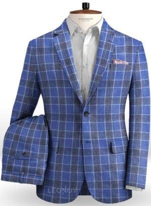 Клетчатый синий костюм из льн