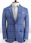Клетчатый синий пиджак из льна – Solbiati