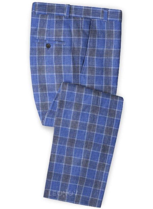 Клетчатые синие брюки из льна – Solbiati