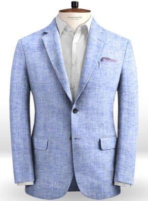 Летний голубой мужской пиджак из льна – Solbiati