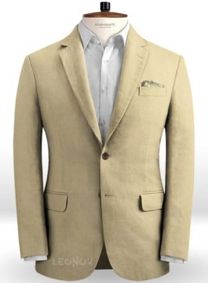 Летний бежевый пиджак из льна – Solbiati
