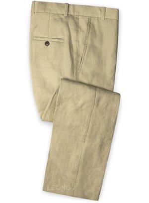Летние бежевые брюки из льна – Solbiati