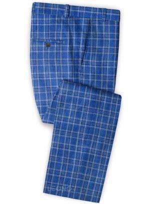 Голубые брюки в клетку из льна – Solbiati