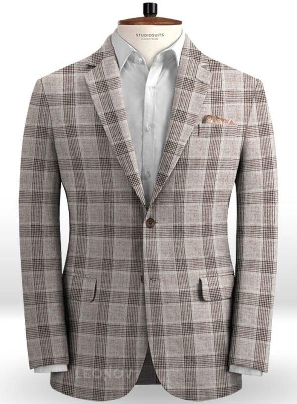 Коричневый клетчатый пиджак из льна – Solbiati