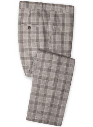 Коричневые клетчатые брюки из льна – Solbiati