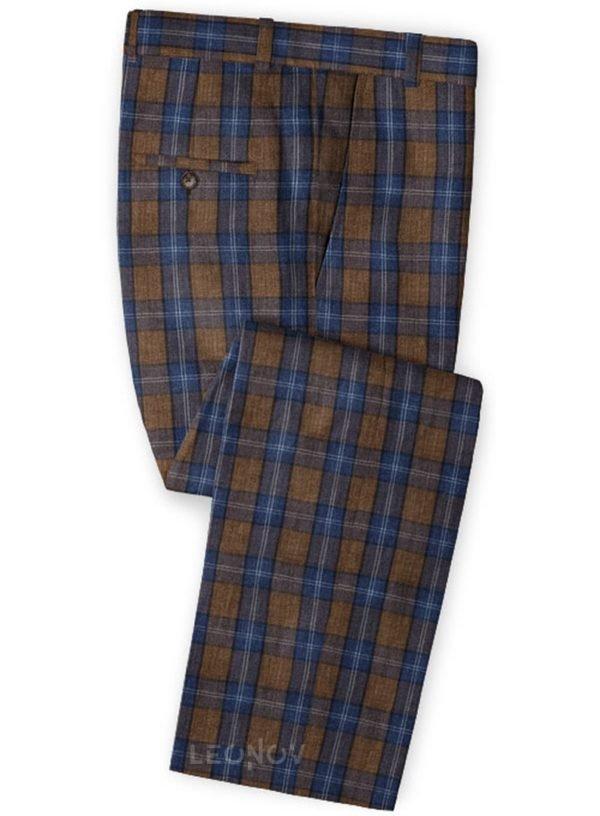Коричневые брюки в синюю клетку Глен из льна – Solbiati