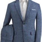 Летний синий костюм из льна