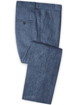 Летние синие брюки из льна – Solbiati