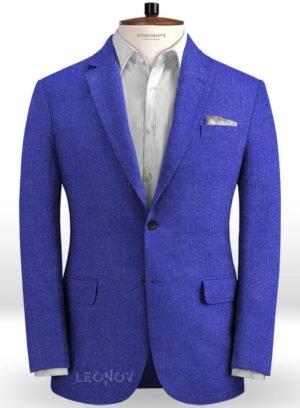 Летний ярко-синий пиджак из льна – Solbiati