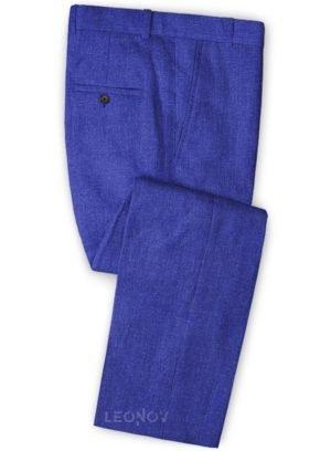 Летние ярко-синие брюки из льна – Solbiati