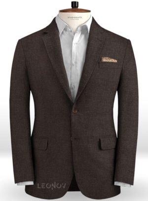 Летний коричневый пиджак из льна – Solbiati