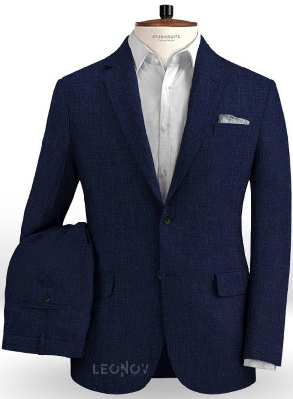 Летний темно-синий костюм из льна