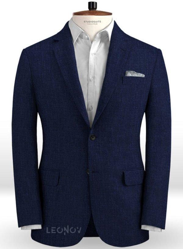 Летний темно-синий пиджак из льна – Solbiati