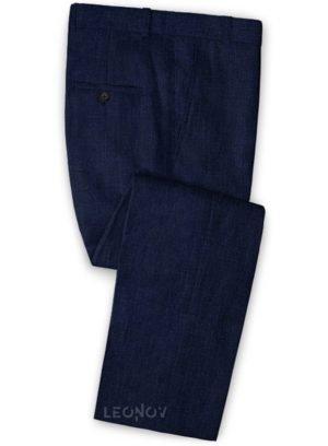 Летние темно-синие брюки из льна – Solbiati