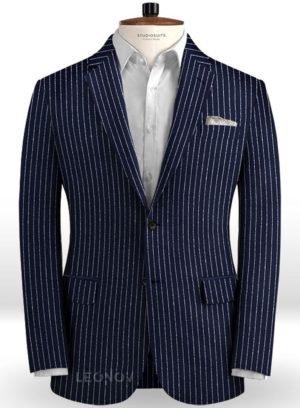 Пиджак темно-синий в контрастную полоску из льна – Solbiati