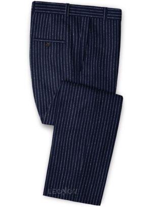 Брюки темно-синие в контрастную полоску из льна – Solbiati