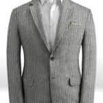 Пиджак в тонкую полоску серый из льна – Solbiati