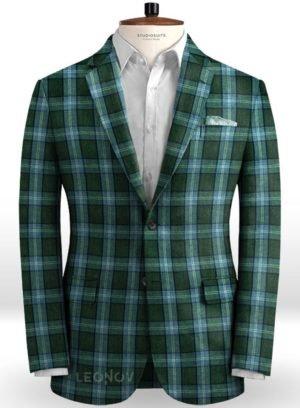 Зеленый пиджак в светлую клетку Глен из льна – Solbiati