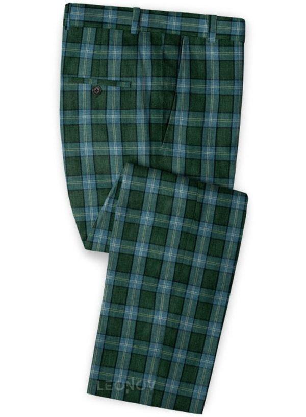 Зеленые брюки в светлую клетку Глен из льна – Solbiati
