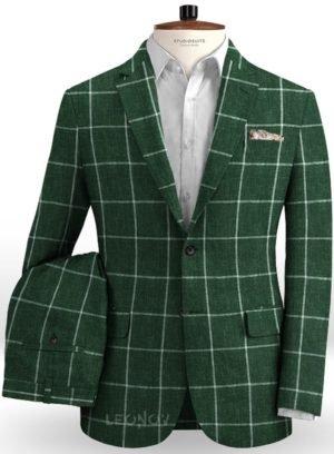 Зеленый костюм в крупную клетку из льна