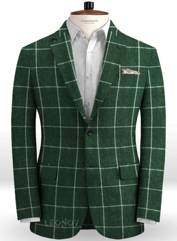 Зеленый пиджак в крупную клетку из льна – Solbiati