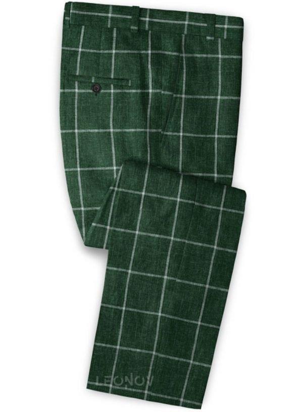 Зеленые брюки в крупную клетку из льна – Solbiati