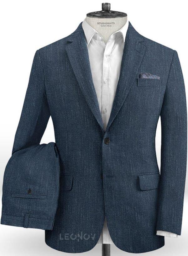 Офисный костюм глубокого синего цвета из шелка, шерсти и льна