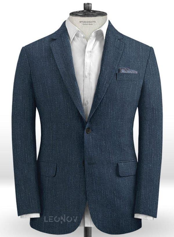 Офисный пиджак глубокого синего цвета из шелка, шерсти и льна – Solbiati