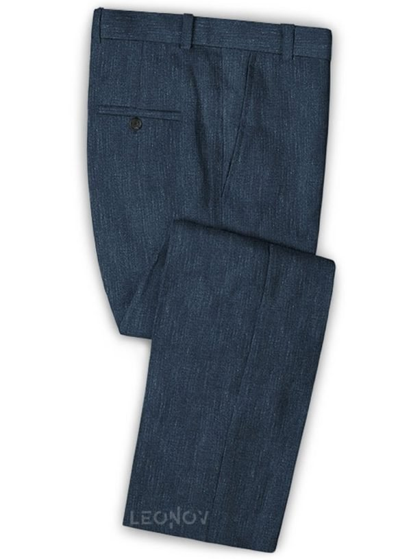 Офисные брюки глубокого синего цвета из шелка, шерсти и льна – Solbiati