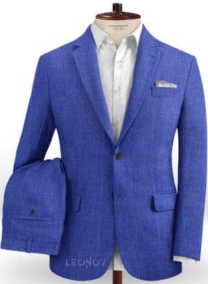 Ярко-синий деловой костюм из шелка, шерсти и льна