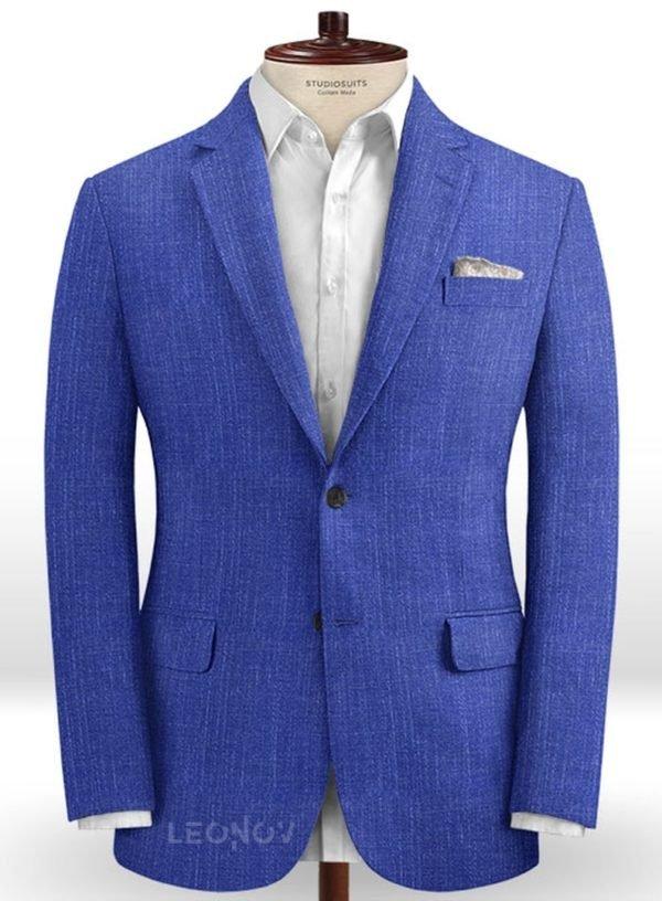 Ярко-синий деловой пиджак из шелка, шерсти и льна – Solbiati