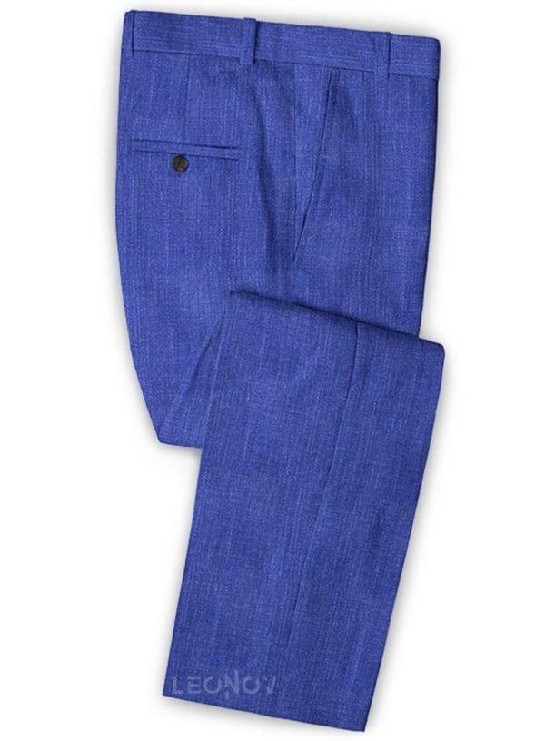Ярко-синие деловые брюки из шелка, шерсти и льна – Solbiati