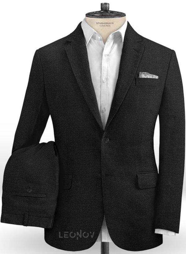 Офисный черный костюм из шелка, шерсти и льна