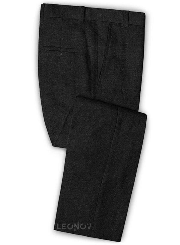 Офисные черные брюки из шелка, шерсти и льна – Solbiati